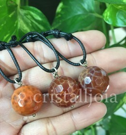 Fire Agate Ball Faceted Pendant