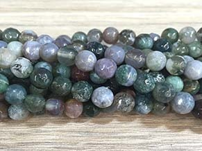 Indian agate 6mm faceted ball strands