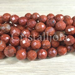 red jasper 10mm faceted ball bead strands