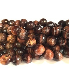 bull's eye 10mm faceted ball bead strands