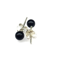 Black Onyx 4mm Ball Earring