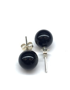 Black Onyx 8mm Ball Earring
