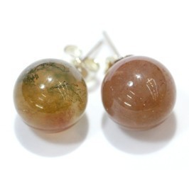 Agata India Pendientes Bola 10Mm