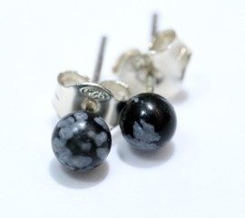 Obsidiana Nevada Pendientes Bola 4Mm
