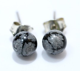 Obsidiana Nevada Pendientes Bola 6Mm