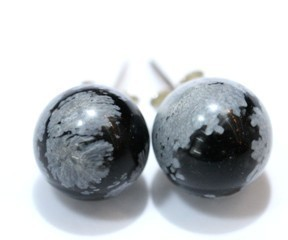 Obsidiana Nevada Pendientes Bola 10Mm