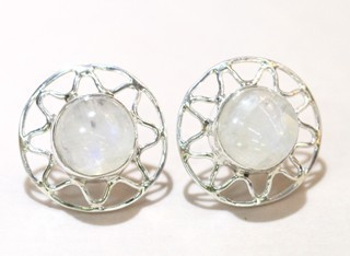 Moonstone Earrings Cabochon 01