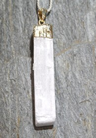 Selinite Raw Point Gold Pendant