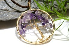 Amethyst Tree of Golden Life Pendant (Gold)