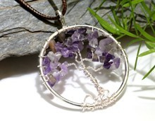 Amethyst Tree of Life Pendant (Silver)