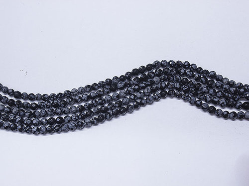 obsidian snow 4mm faceted ball strands