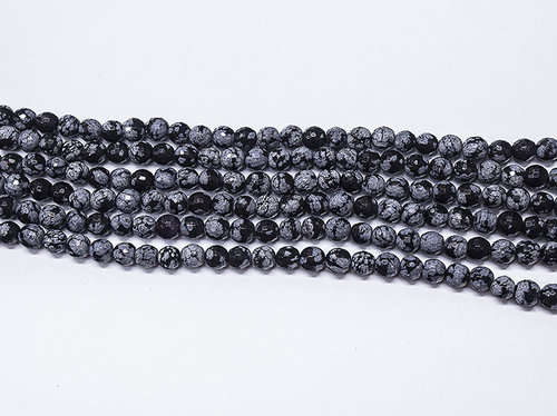 Snowflake Obsidian 6mm Ball Faceted Beads