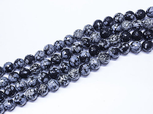 obsidian snow 10mm faceted ball bead strands