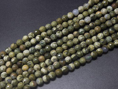 rhyolite 6mm faceted ball strands