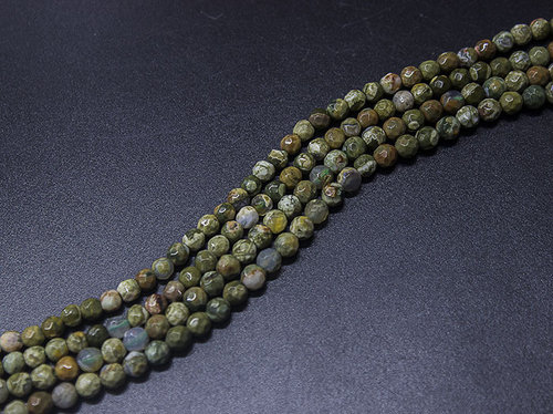 rhyolite 4mm faceted ball strands