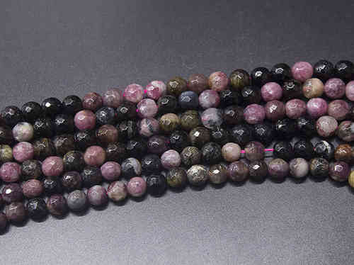 Multicolored Tourmaline 7mm Faceted Ball Beads