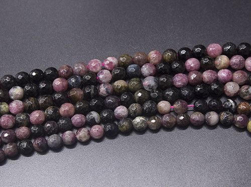 Multicolor tourmaline 7mm faceted ball strands