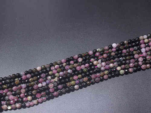 Multicolored Tourmaline 4mm Faceted Ball Bead