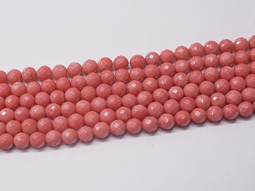 Pink Coral 8mm Faceted Balls Bead