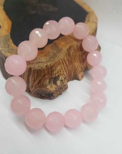 Rosa Quarts Bracelet 12mm Round Faceted beads