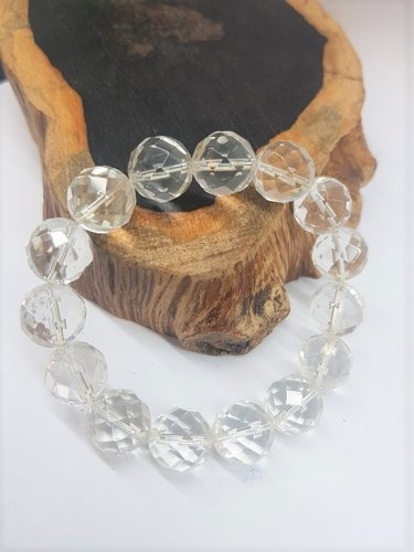 Crystal Clear Quarts Bracelet Faceted Round Beads 12mm