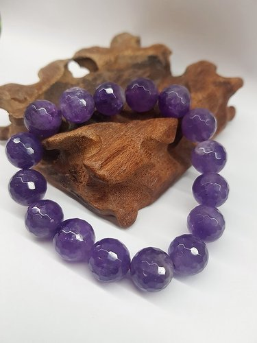 Amethyst Bracelet Faceted Round Beads 12mm