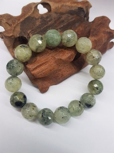 Prehnite Bracelet Faceted Round Beads 12mm
