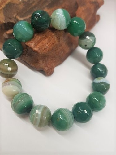 Green Banded Agate Bracelet Round Beads Faceted 12mm