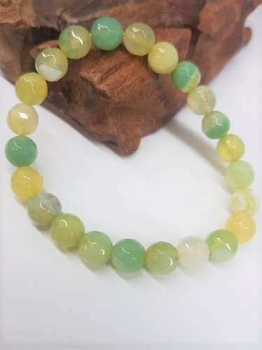 Light Green Banded Agate Bracelet Round Beads Faceted 8mm