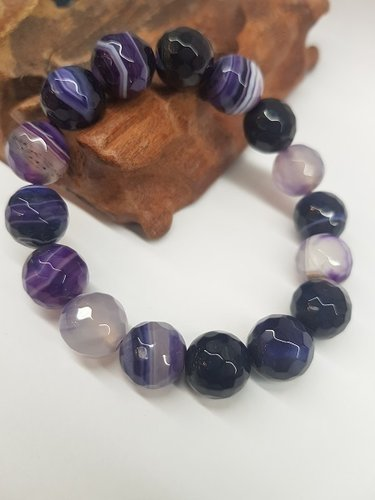 Pulple Listed Agate Bracelet Round Faceted Beads 12mm