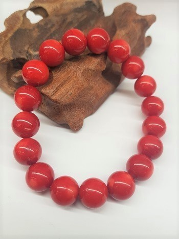 Bamboo Coral Bracelet Round Beads 12mm