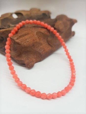 Pink Coral Bracelet Round Faceted Beads 3mm