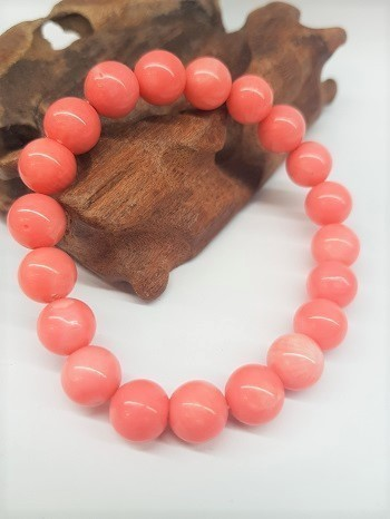 Pink Coral Bracelet Round Beads 10mm