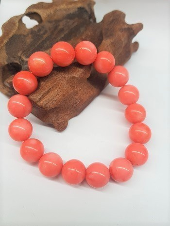 Pink Coral Bracelet Round Beads 12mm