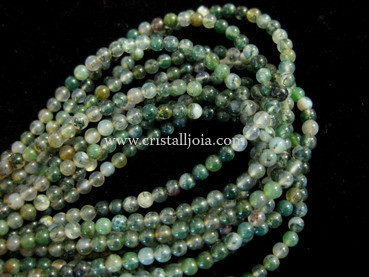 moss agate 3mm ball beads strands