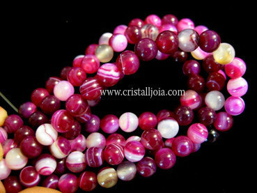 fuchsia listed agate 6mm ball beads strands