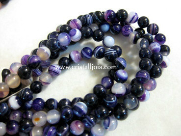 Lilac listed agate 6mm ball beads strands