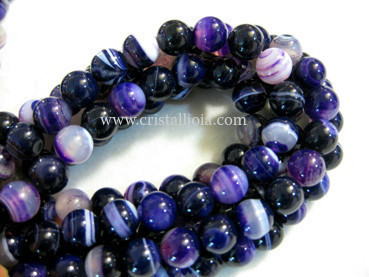 Lilac listed agate 8mm ball beads strands