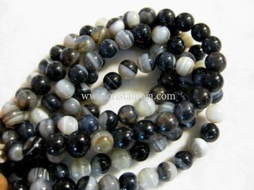 black listed agate 6mm ball beads strands