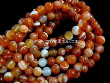 red striped agate 6mm ball beads strands