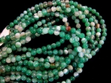 green striped agate 4mm ball beads strands