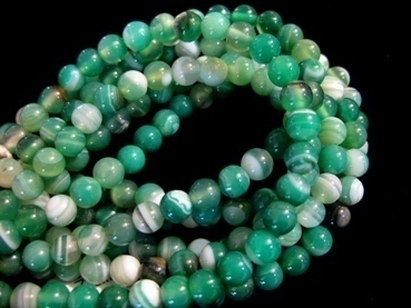 green striped agate 6mm ball beads strands