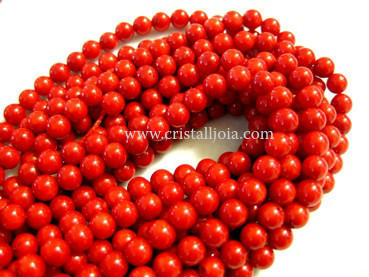red bamboo coral 6mm ball beads strands