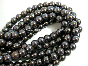 hematite 8mm ball beads strands
