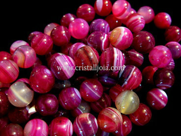 fuchsia listed agate 10mm ball beads strands