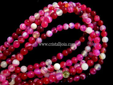 fuchsia listed agate 2mm ball beads strands