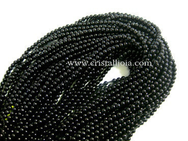 black onyx 3mm ball beads strands