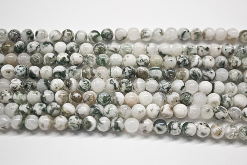 tree agate 8mm ball beads strands