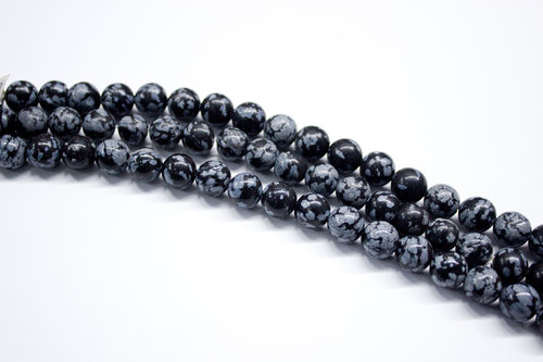 obsidian snow 10mm ball beads strands