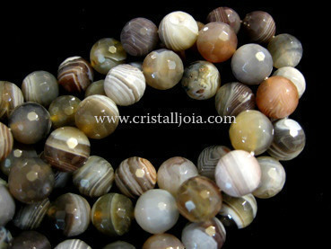 botswana agate 8mm faceted ball beads strands